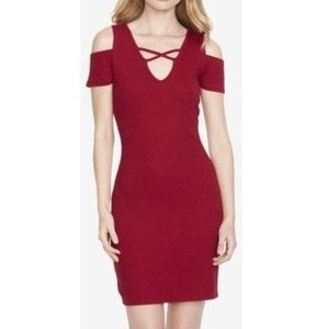 NWT Jessica Simpson Red Cold Shoulder Cutout Dress